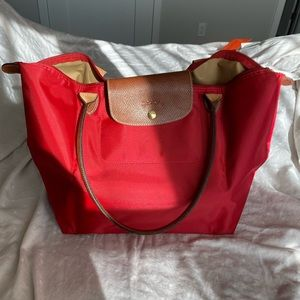 Large Longchamp Le Pilage Tote in Red